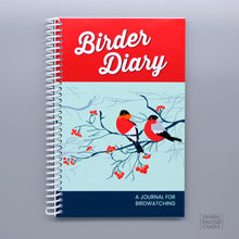 Load image into Gallery viewer, Pretty Red Birder Diary for Bird Watching and Species Life List Spiral Bound Field Notebook