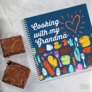 Cooking with my Grandma Keepsake Recipe Journal Gift for Grandmothers Premium Spiral Bound Made in USA