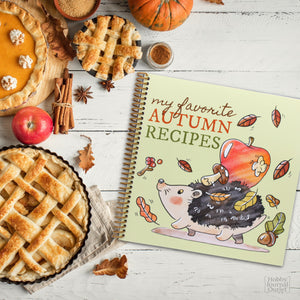 Fall Autumn Premium Quality Made in the USA Spiral Bound Recipe Cookbook Journal to Write In