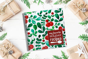 Premium Quality Spiral Bound Blank Recipe Journal for Your Christmas and Holiday Dishes