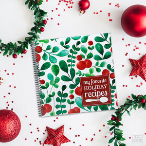 Christmas Recipe Journal Premium Spiral Bound Pretty Red Green White Holly Berry