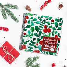 Load image into Gallery viewer, Christmas Recipe Journal Spiral Bound Red Green White Holly Berries Cover