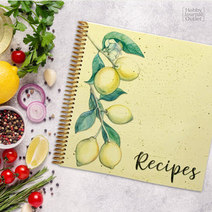 Beautiful Yellow Lemons Spiral Bound Recipe Journal for Holiday and Birthday Gifts