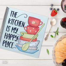 Load image into Gallery viewer, The Kitchen is my Happy Place Premium Quality Spiral Bound Blank Recipe Journal for Teen Girls and Women to Write in