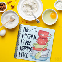 Load image into Gallery viewer, Kitchen is my Happy Place Spiral Bound Recipe Journal for Women to Write in