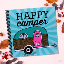 Load image into Gallery viewer, RV Camping Travel Journal with Vintage Travel Trailer and Happy Camper Saying Made in the USA Gift Product