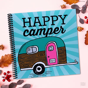 RV Camping Travel Journal with Vintage Travel Trailer and Happy Camper Saying Made in the USA Gift Product