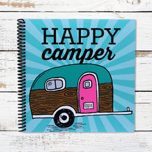 Load image into Gallery viewer, Happy Camper Journal for RV Camping with Vintage Travel Trailer Made in USA Product