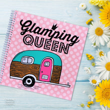 Load image into Gallery viewer, Cute RV and Camping Travel Journal for Women to Write in with Vintage Trailer Glamping Queen