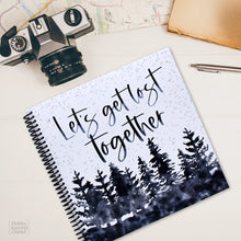 Load image into Gallery viewer, Lets Get Lost Together Spiral Bound Travel Journal Guided Keepsake Album Made in USA Adventure Trip Notebook for Couples and Families