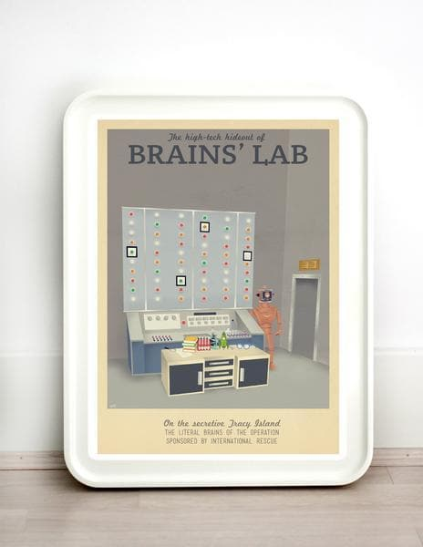 Thunderbirds Brains' Lab Vintage Travel Print