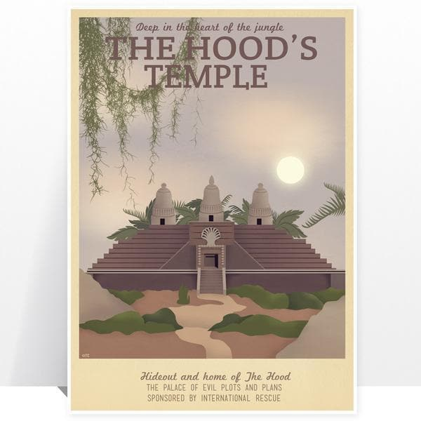 Thunderbirds The Hood's Temple Vintage Travel Print - The Gerry Anderson Store