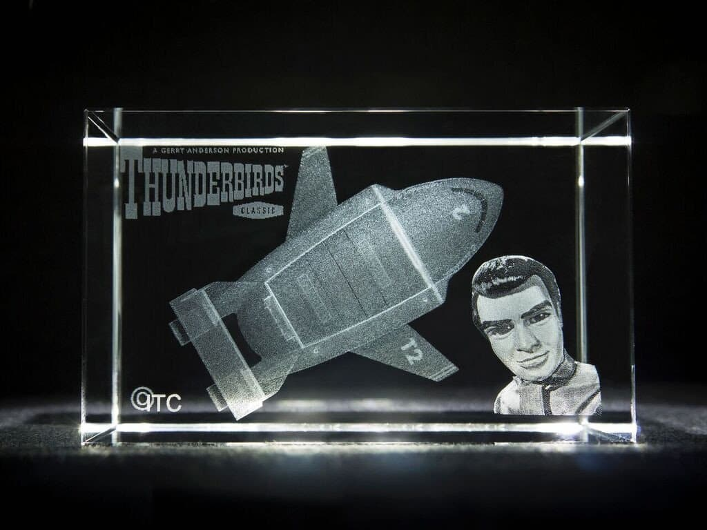 Limited Edition: Thunderbird 2 - Laser Etched Grade A Glass Crystal Cube - The Gerry Anderson Store