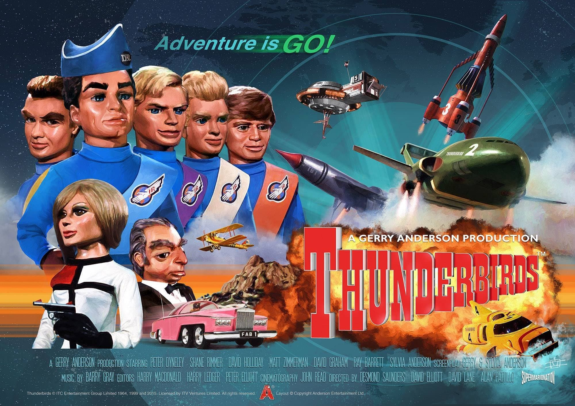 Thunderbird 6 Cartoon Characters : Official thunderbirds th anniversary poster