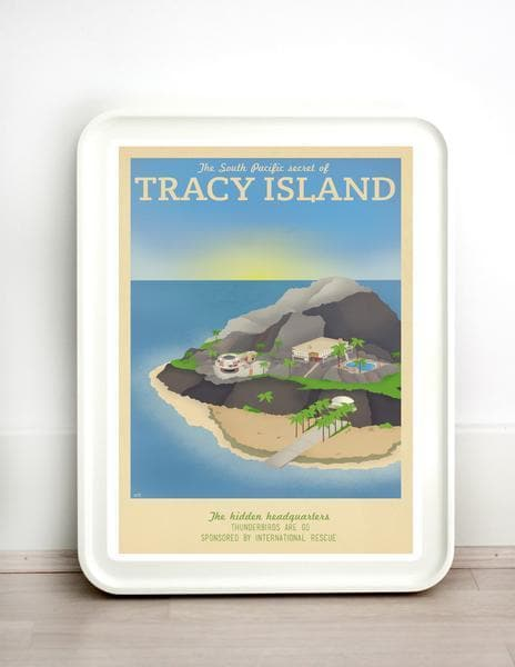 Thunderbirds Tracy Island Vintage Travel Print