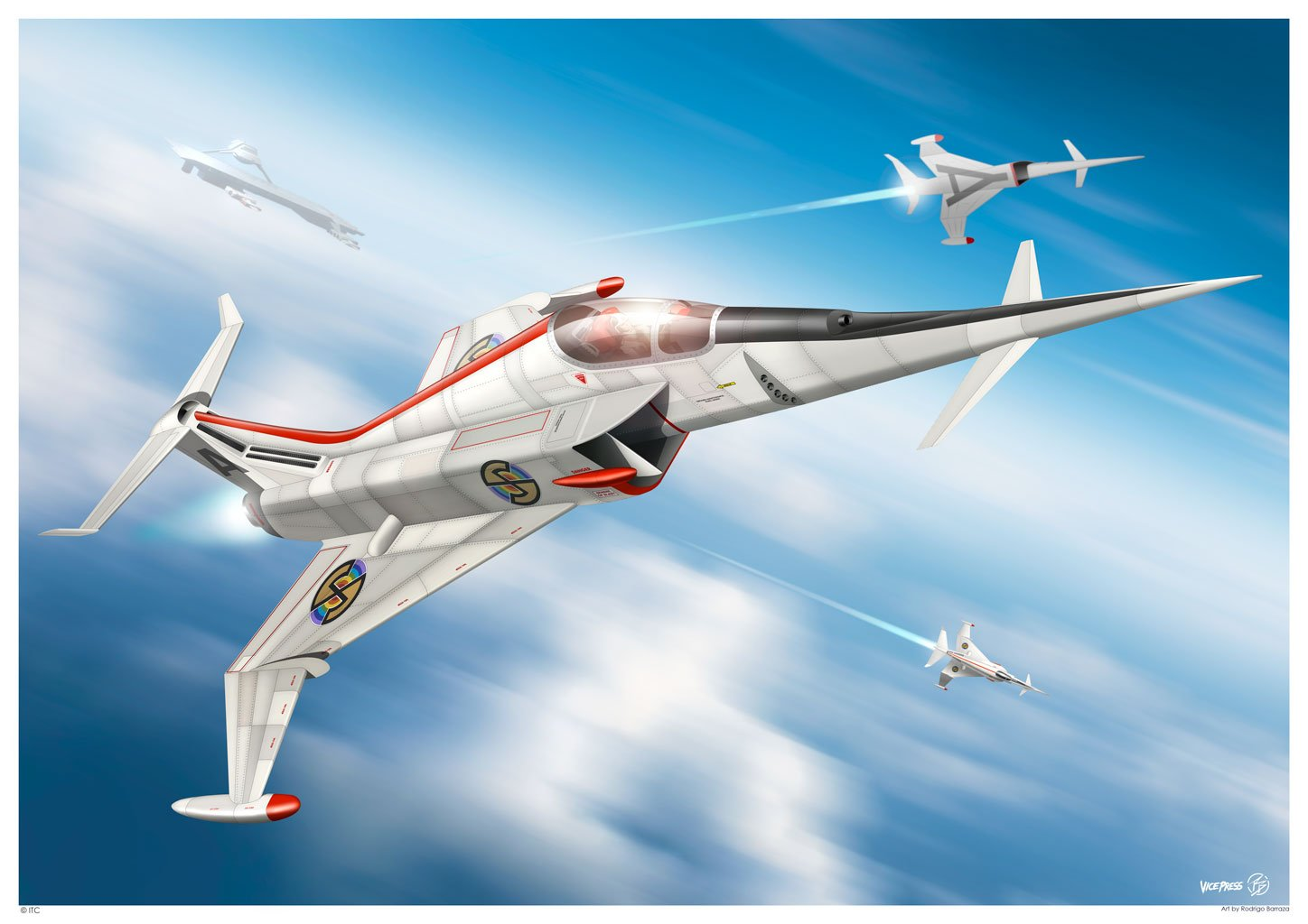 Angel Interceptor In Flight Print by Rodrigo Barrazza - The Gerry Anderson Store