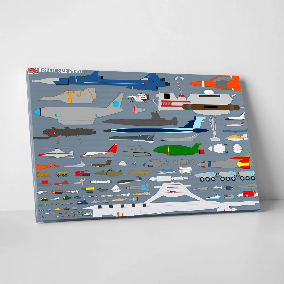 Gerry Anderson Vehicle Size Chart Canvas Print - The Gerry Anderson Store