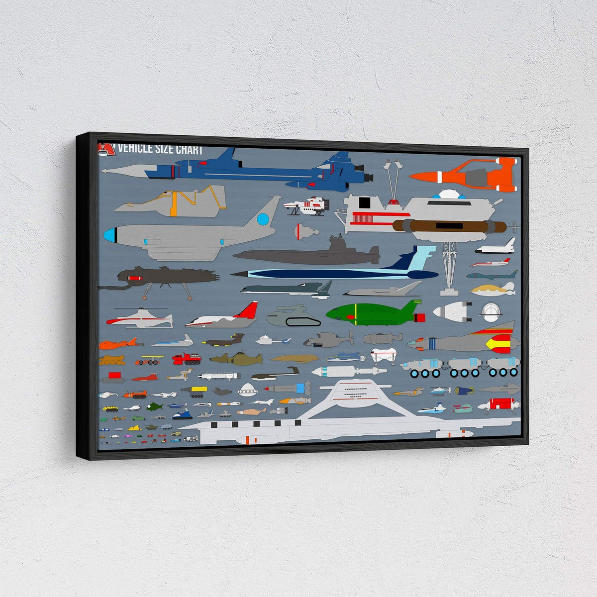 Gerry Anderson Vehicle Size Chart Framed Canvas Print - The Gerry Anderson Store