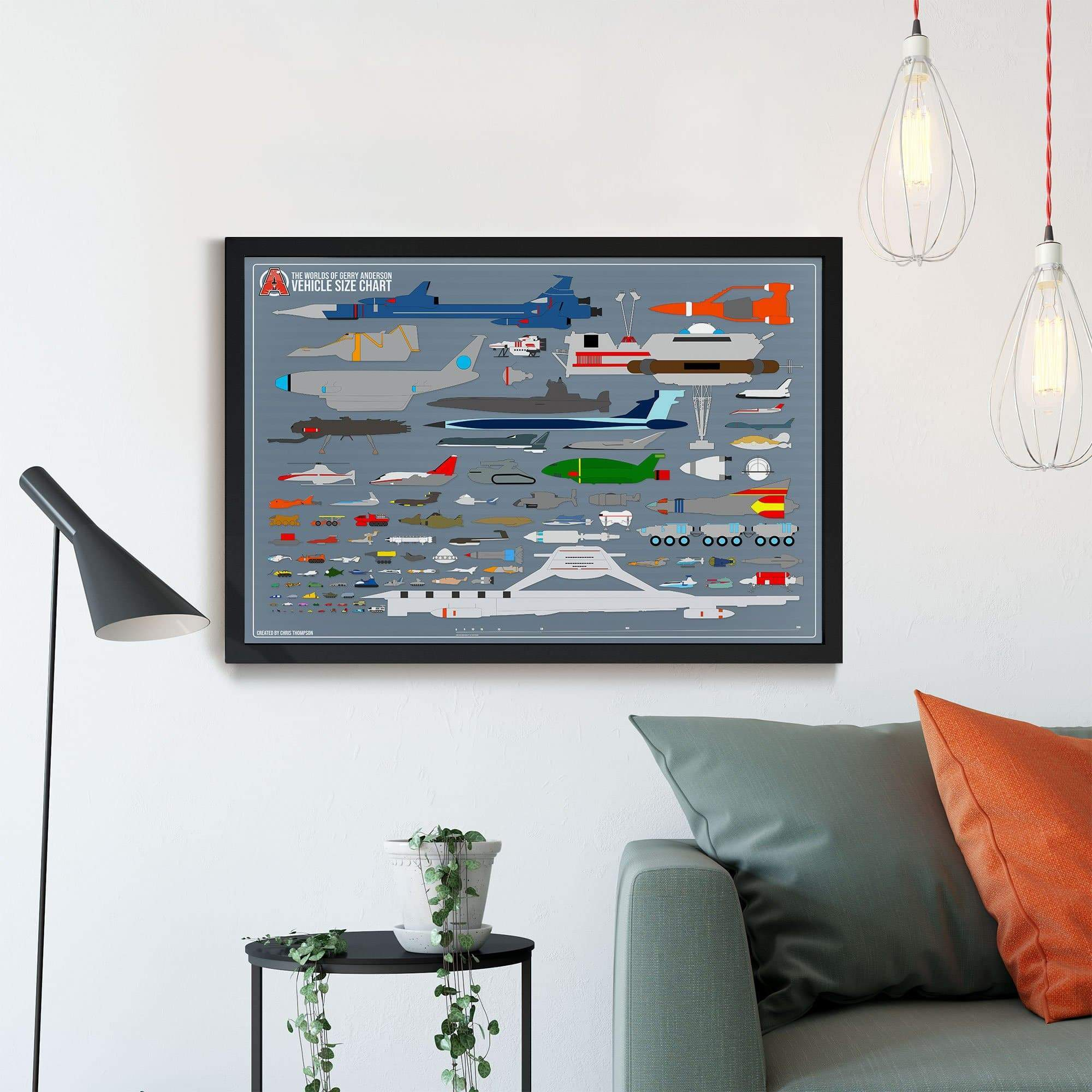 Gerry Anderson Vehicle Size Chart Framed Print - The Gerry Anderson Store