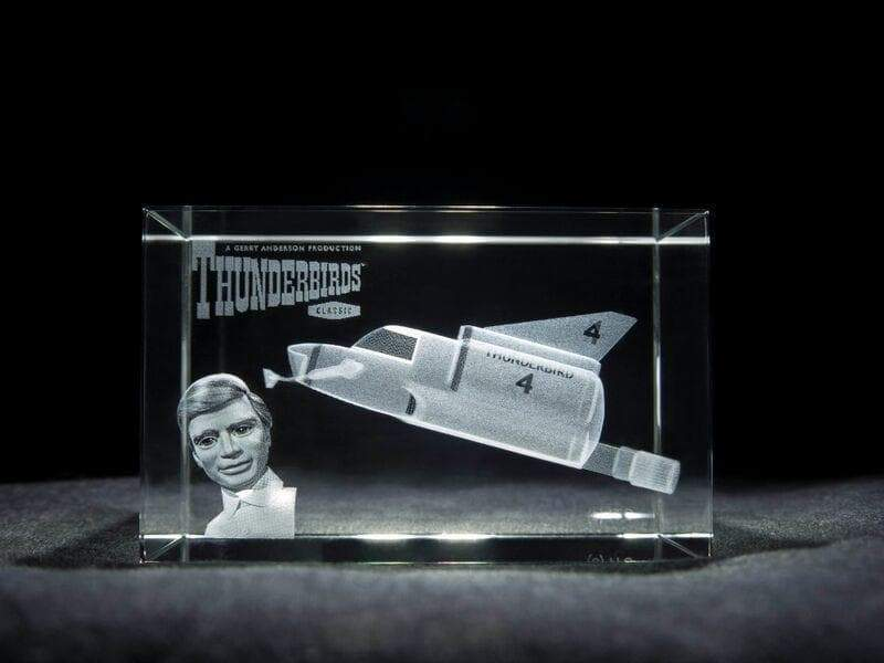 Limited Edition: Thunderbird 4 - Laser Etched Grade A Glass Crystal Cube (Official and Exclusive)