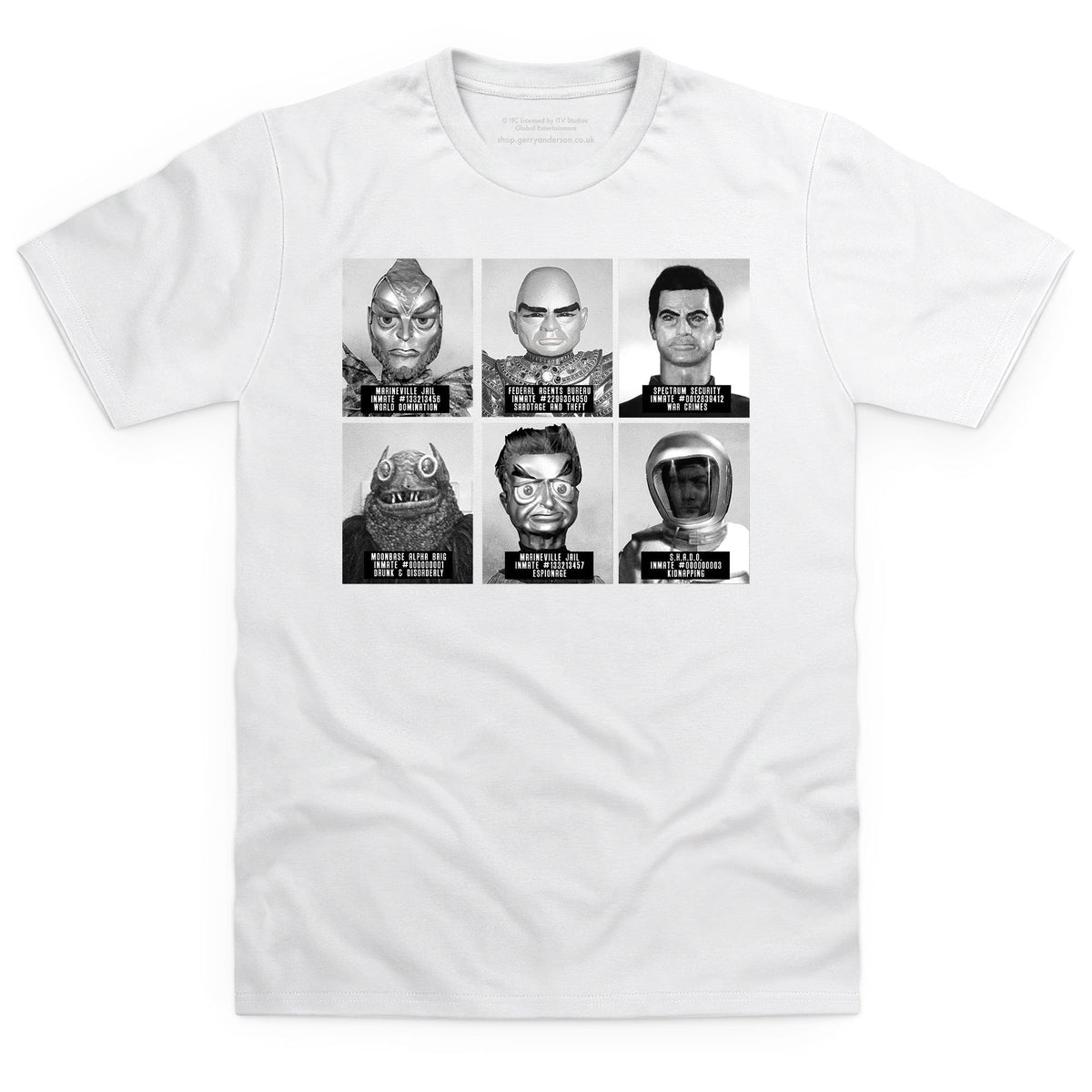 Suspects and Villains Men's White T-shirt [Official & Exclusive] - The Gerry Anderson Store