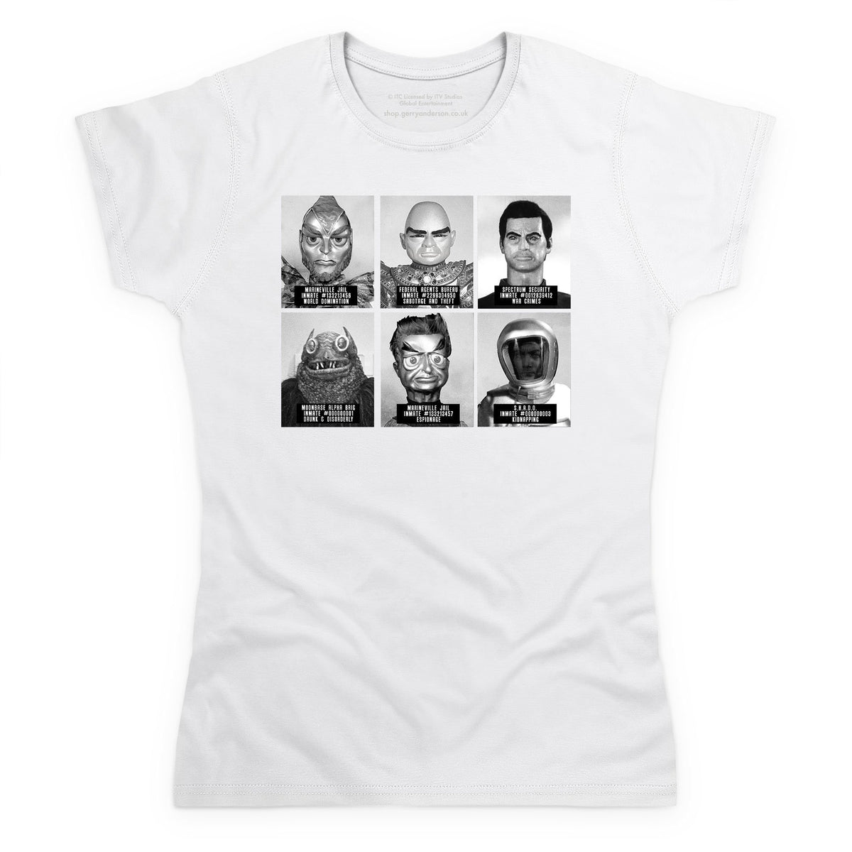 Suspects and Villains Women's White T-shirt [Official & Exclusive] - The Gerry Anderson Store