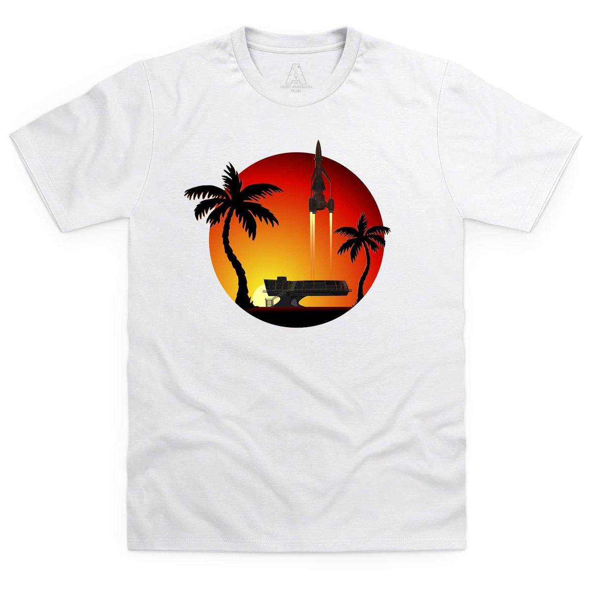 Thunderbird 3 Sunset Men's White T-Shirt [Official & Exclusive] - The Gerry Anderson Store