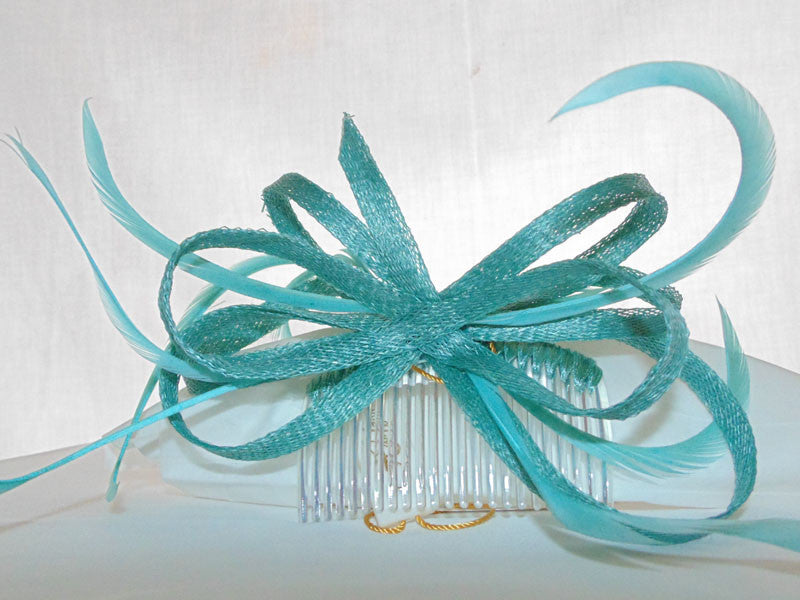 Ocean Blue Fascinator Sinamay