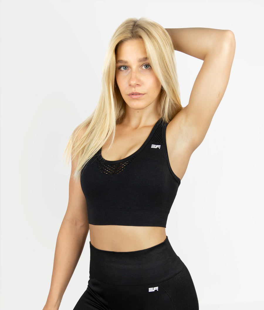 Mesh Sports Bra - Black - EVERFIT