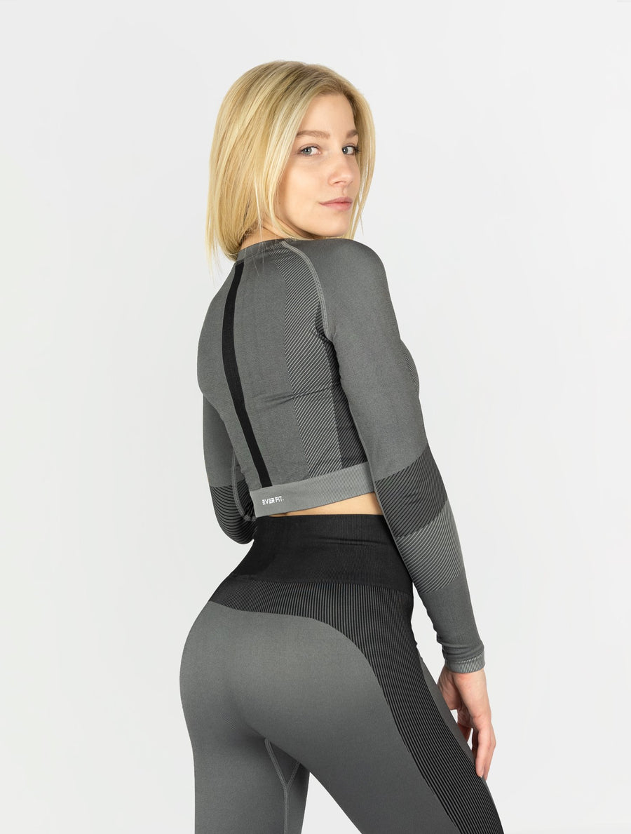 EVER FIT Crop Longsleeve - Dark Grey - EVERFIT
