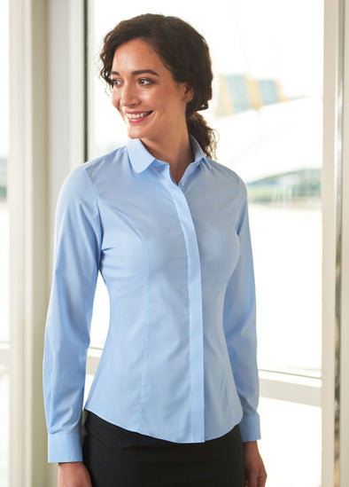 Trevi Semi Fitted Long Sleeve Blouse Blue