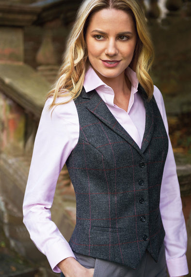 Nashville Ladies Tweed Waistcoat Charcoal Pink Check