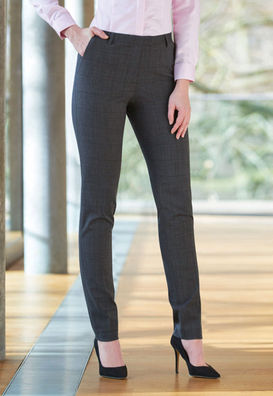 Torino Slim Leg Trousers Grey Check Signature