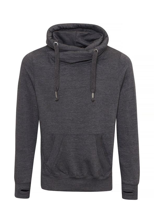 JH021 Cross Neck Hoodie Charcoal