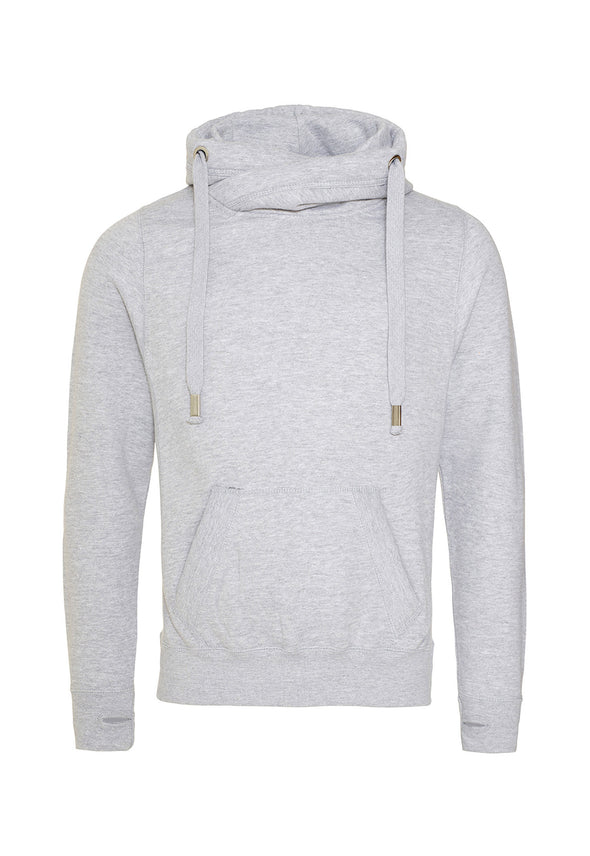 JH021 Cross Neck Hoodie Heather Grey