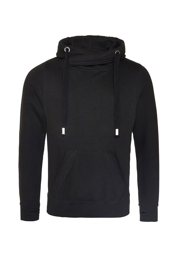 JH021 Cross Neck Hoodie Jet Black