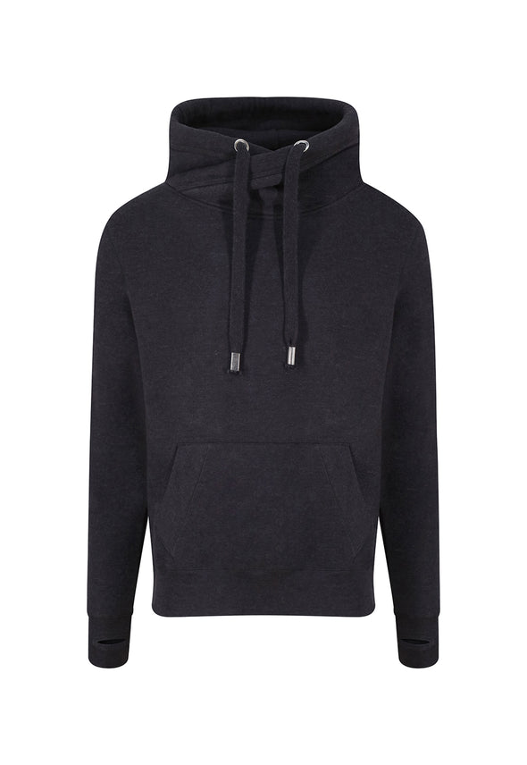 JH021 - Cross Neck Hoodie Black Smoke