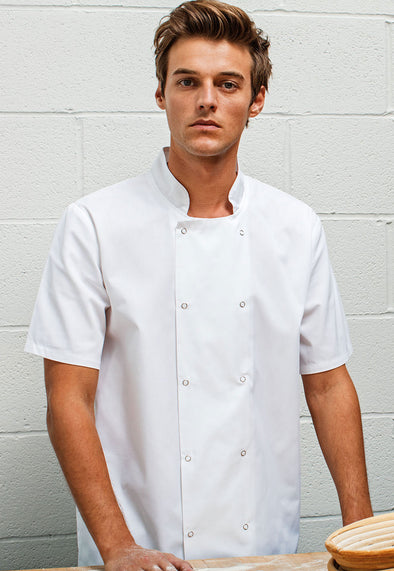 PR664 Studded Front Short Sleeve Chef's Jacket