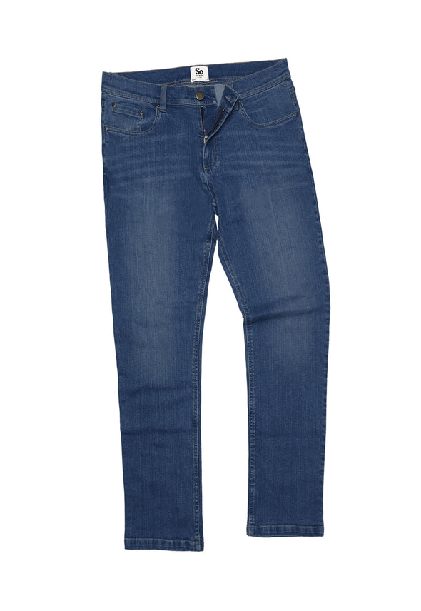SD001 Men's Straight Jeans Mid Blue Wash