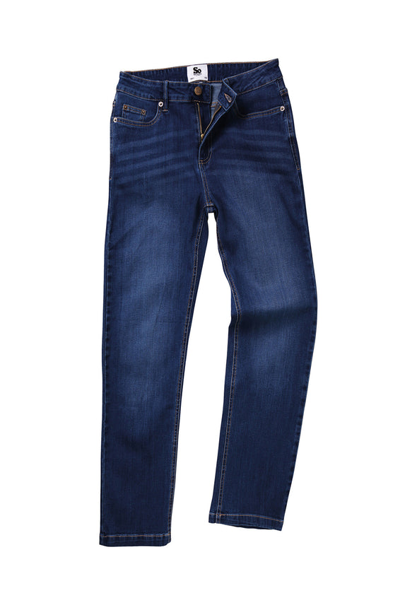 SD011 Women's Straight Jeans Dark Blue Wash