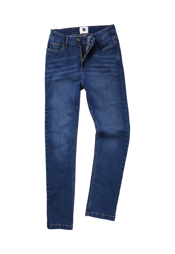 SD011 Women's Straight Jeans Mid Blue Wash
