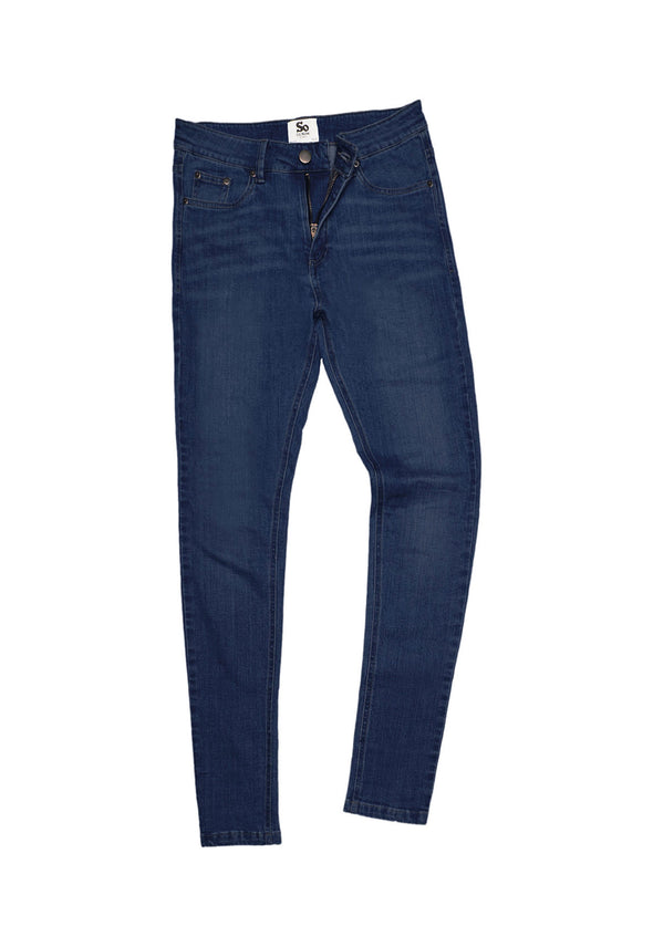 SD014 Women's Skinny Jeans Dark Blue Wash
