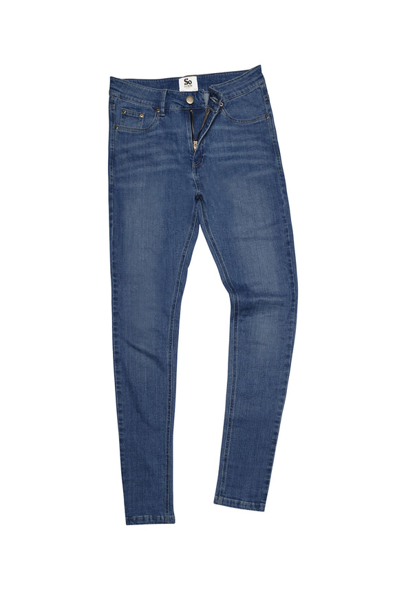 SD014 Women's Skinny Jeans Mid Blue Wash