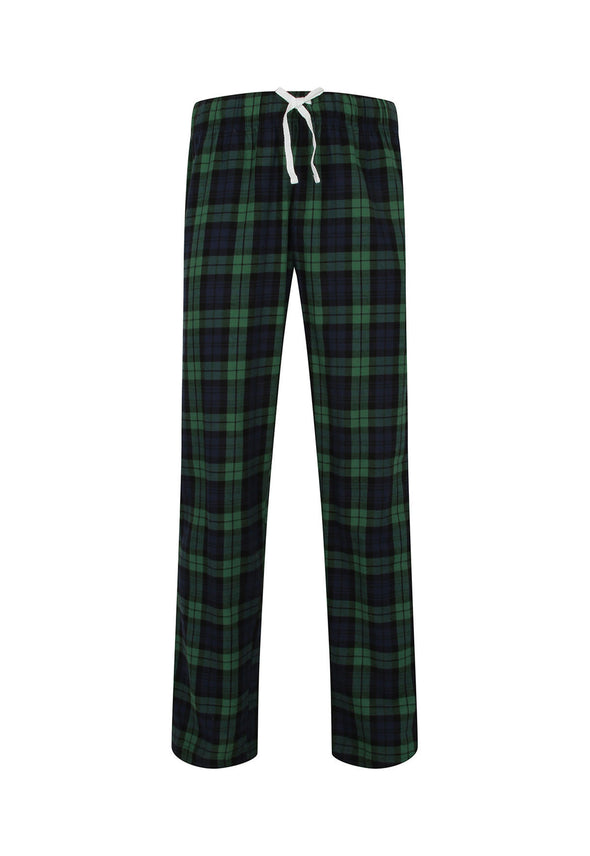 SFM83 Men's Tartan Lounge Pants Navy Green Check