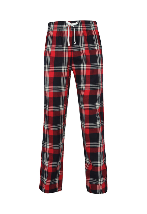 SFM83 Men's Tartan Lounge Pants Red Navy Check