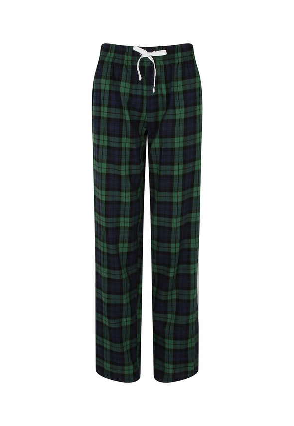 SK083 Women's Tartan Lounge Pants Navy Green Check