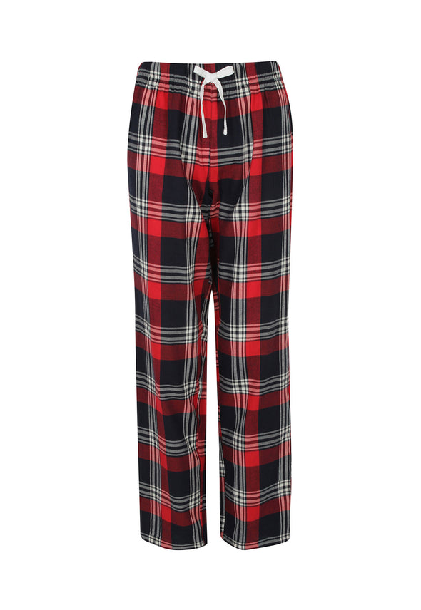 SK083 Women's Tartan Lounge Pants Red Navy Check