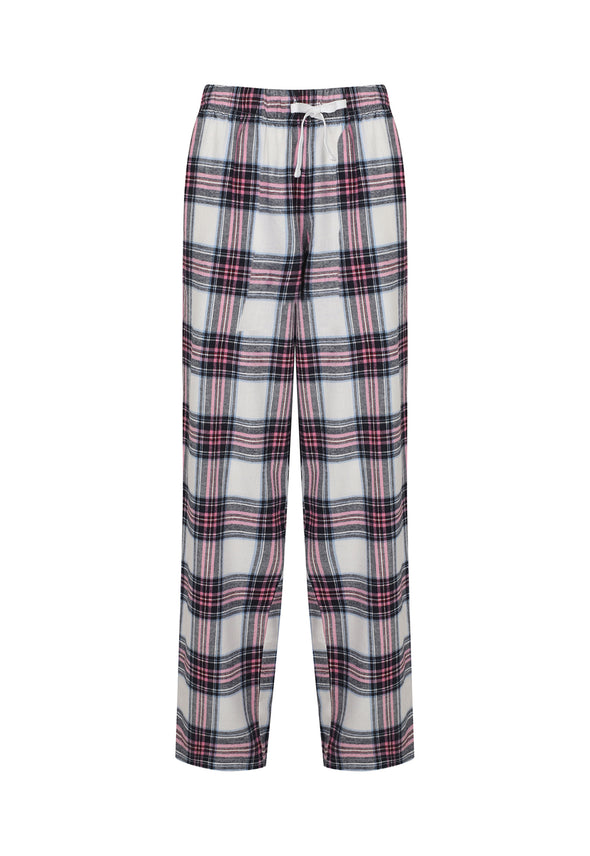 SK083 Women's Tartan Lounge Pants White Pink Check