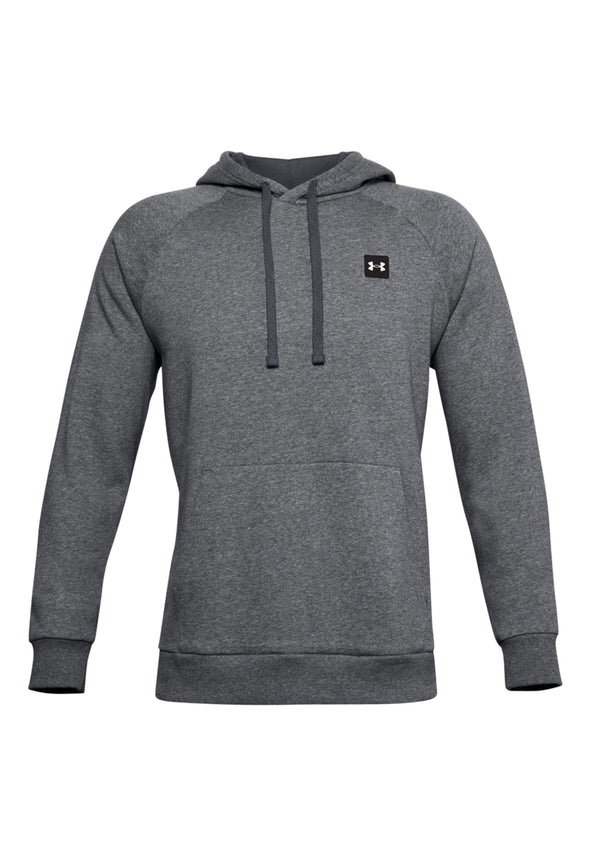 UA002 Rival Fleece Hoodie Pitch Grey Light Heather Onyx White