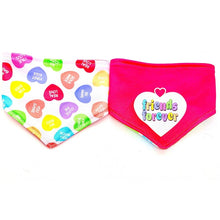 Load image into Gallery viewer, FIRST KISS / FRIENDS FOREVER REVERSIBLE DOG BANDANA